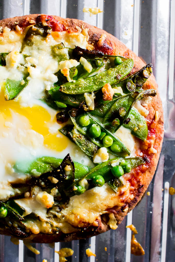 Sauteed Sugar Snap Pea & Goat Cheese Naan Pizza + 6 Healthy Ways to Eat Peas