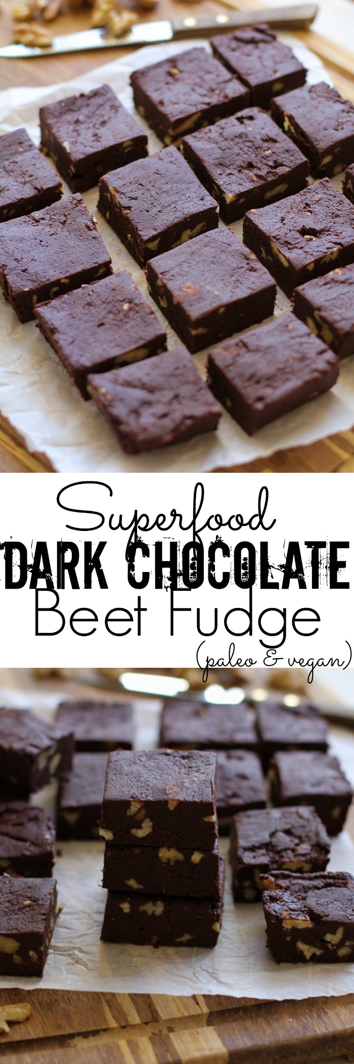 Healthy Dark Chocolate Fudge with Beets and Walnuts - dairy-free, refined sugar-free, and healthy! | TheRoastedRoot.net #superfood #recipe #dessert #vegan #paleo