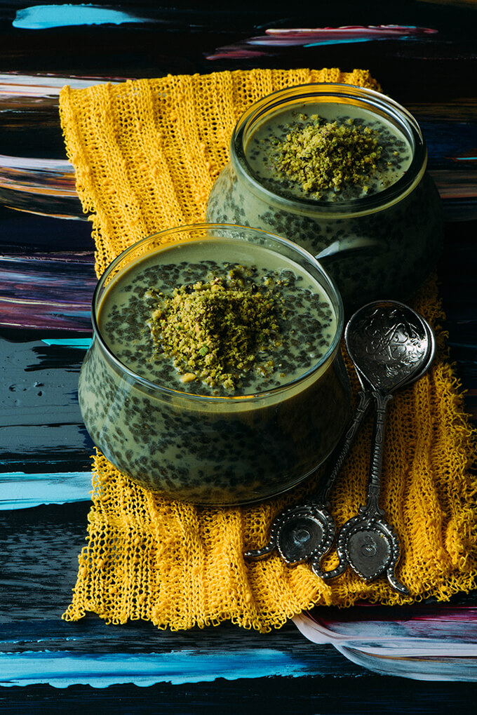 Pistachio Green Tea Chia Seed Pudding