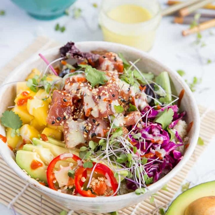 Ahi Poke Sushi Bowls with Wasabi Mayo   TheRoastedRoot.net #healthy #dinner #paleo #recipe #glutenfree