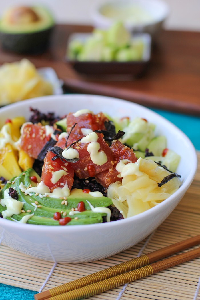 Ahi Poke Sushi Bowls with Wasabi Mayo | TheRoastedRoot.net #healthy #dinner #recipe #glutenfree