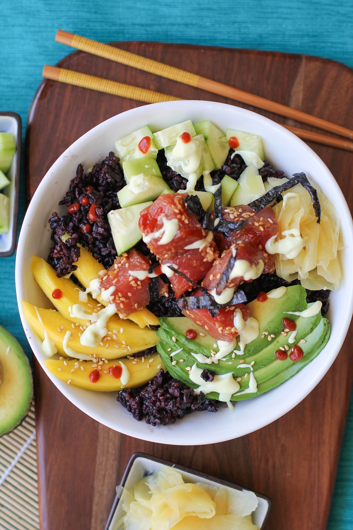 Ahi Poke Sushi Bowls with Wasabi Sauce - The Roasted Root