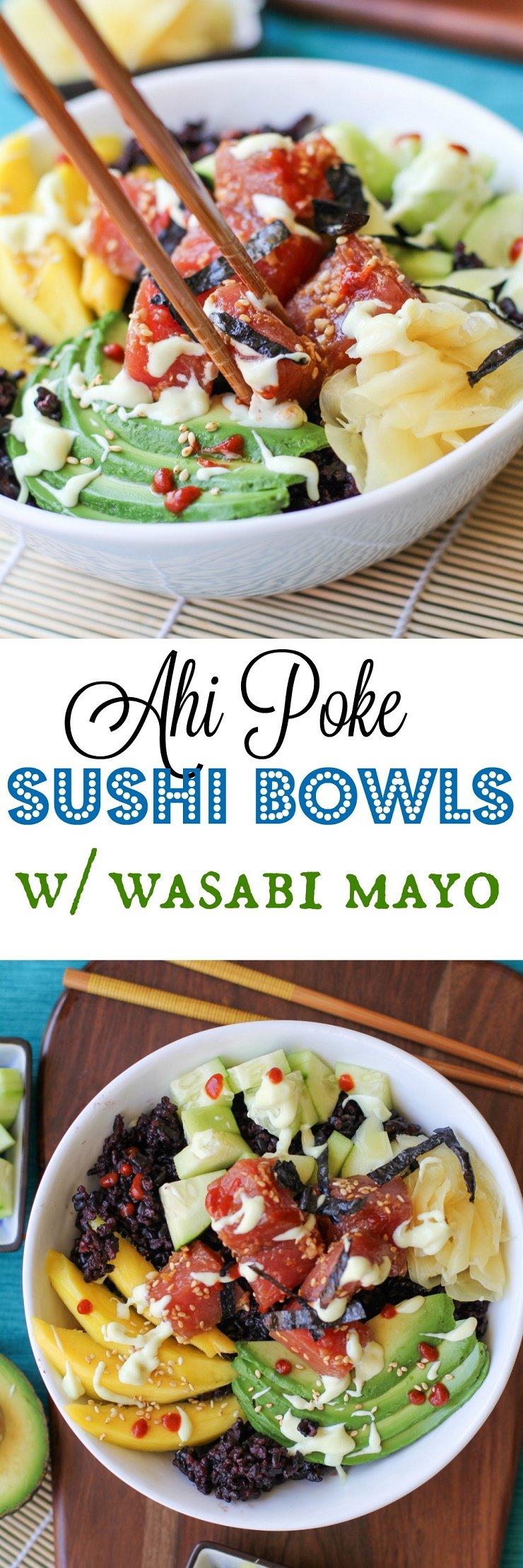 Ahi Poke Sushi Bowls with Wasabi Mayo   TheRoastedRoot.net #healthy #dinner #recipe #glutenfree
