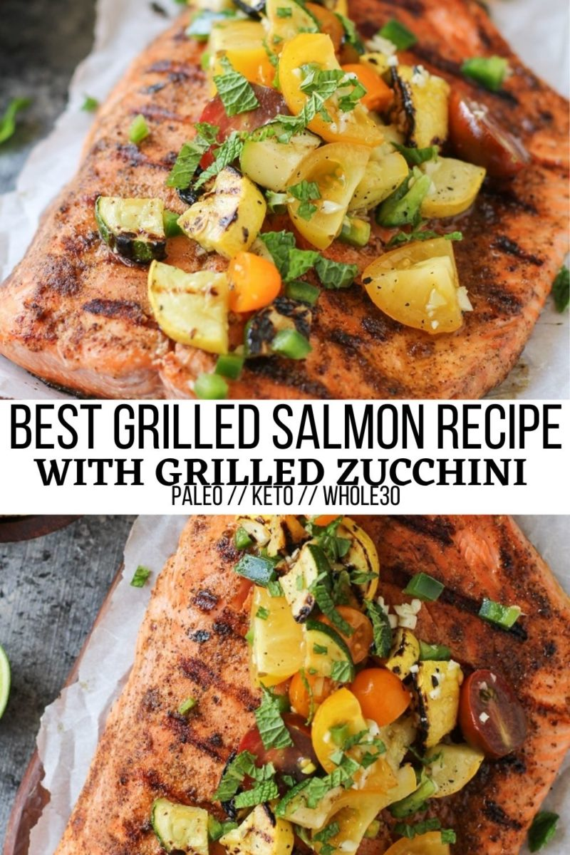 The Only Grilled Salmon Recipe You'll Ever Need! An easy tutorial on how to make THE BEST grilled salmon! Complete with a grilled zucchini and tomato salsa, this fresh, healthy dinner recipe is amazing for grilling season.
