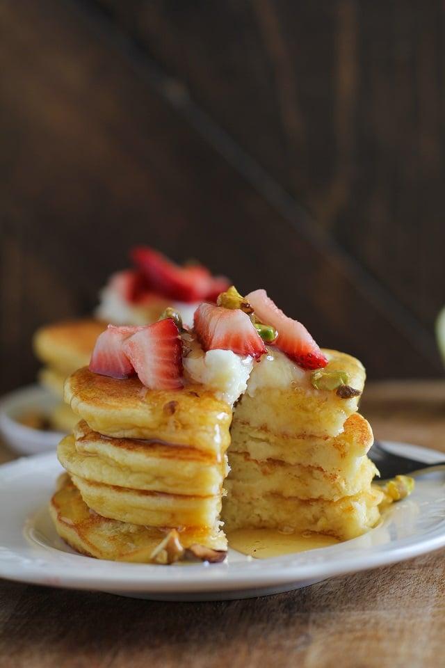 Lemon Ricotta Coconut Flour Pancakes | TheRoastedRoot.net #glutenfree #grainfree #healthy #breakfast