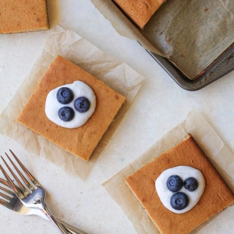 Paleo Vanilla Cake made with coconut flour, tapioca flour, and honey | TheRoastedRoot.net #healthy #dessert #recipe
