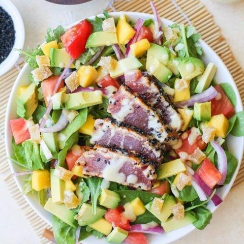Seared Ahi Salad with Creamy Wasabi Dressing | TheRoastedRoot.net #healthy #dinner #recipe