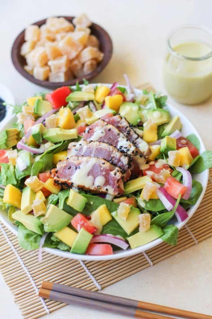 Seared Ahi Salad with Creamy Wasabi Dressing | TheRoastedRoot.net #healthy #dinner #recipe @frontiercoop