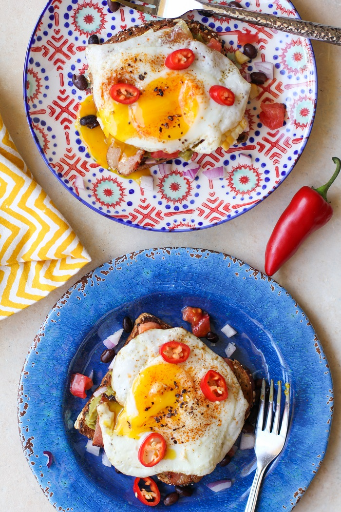 Southwest Breakfast Avocado Toasts with @sabradippingco Guacamole   TheRoastedRoot.net #healthy #breakfast #recipe