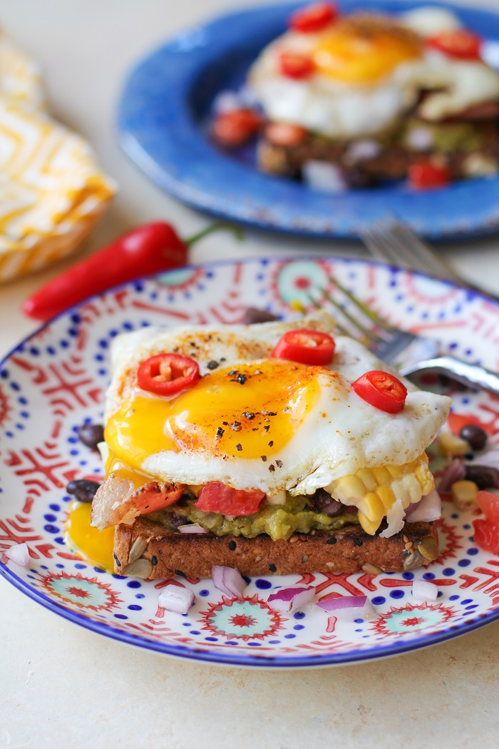 Southwest Breakfast Avocado Toasts with @sabradippingco Guacamole | TheRoastedRoot.net #healthy #breakfast #recipe