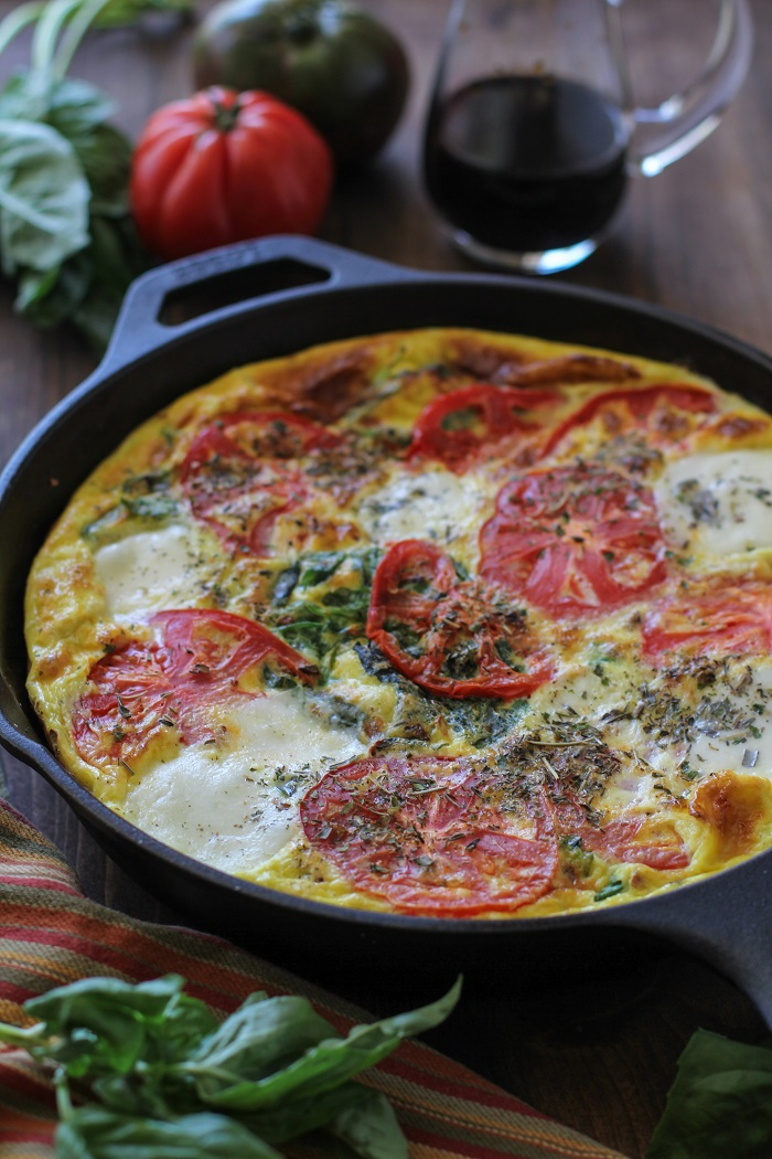 Caprese Frittata with Arugula | TheRoastedRoot.net #healthy #breakfast #dinner #vegetarian
