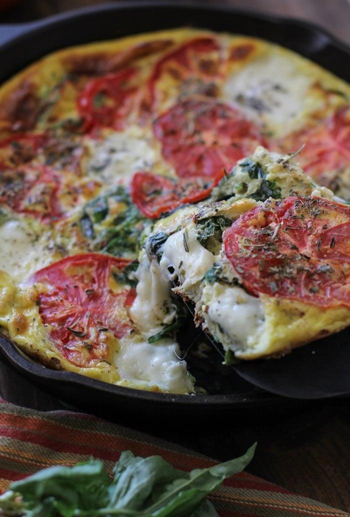 Caprese Frittata with Arugula   TheRoastedRoot.net #healthy #breakfast #dinner #vegetarian