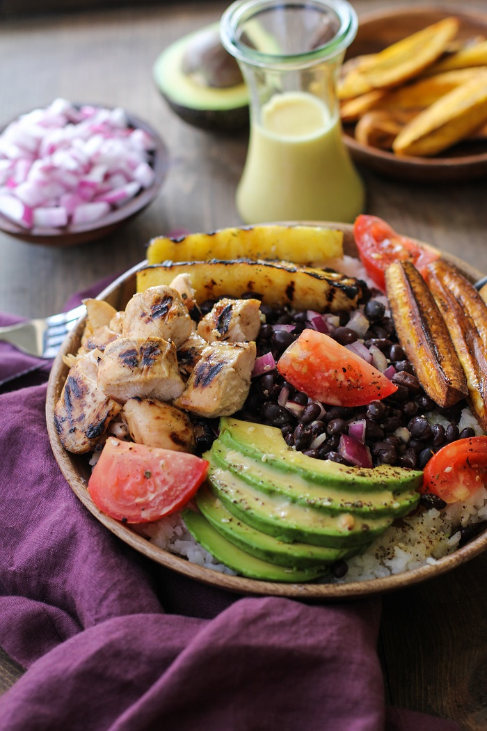 Grilled Cuban Mojo Chicken Bowls with fried plantains and mojo sauce | TheRoastedRoot.net #healthy #dinner #recipe #glutenfree #bbq