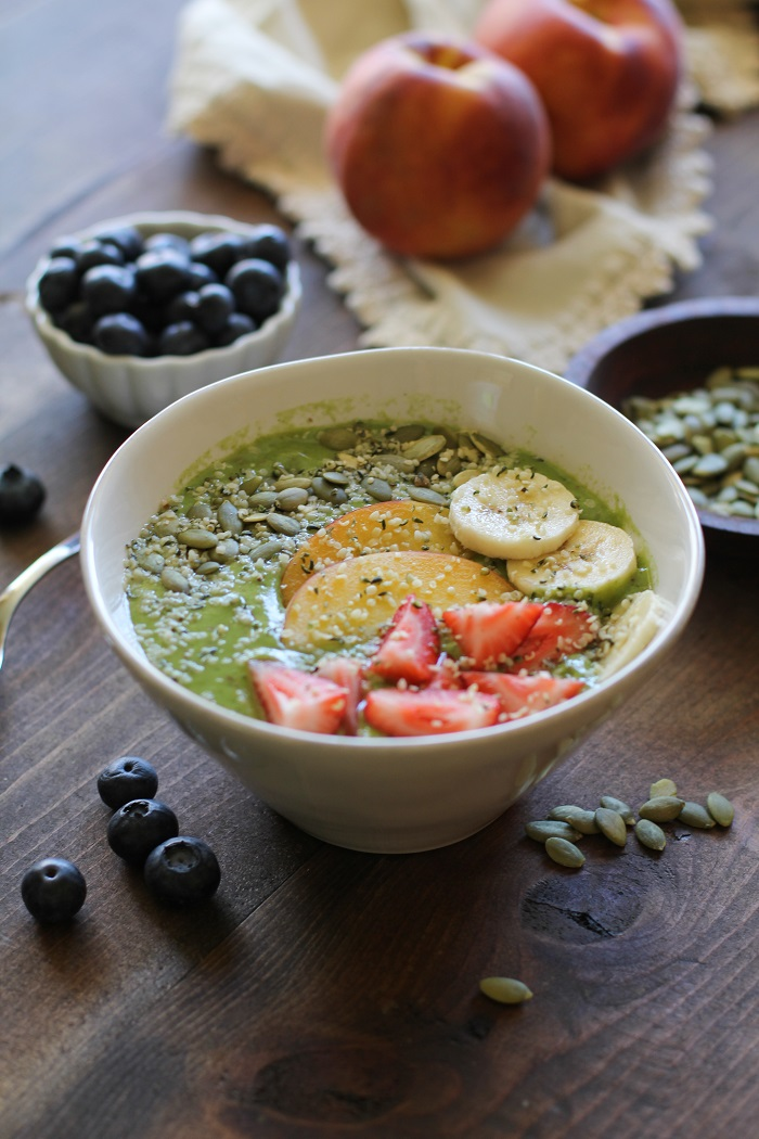 Rejuvenating Peach and Spinach Smoothie Bowls | TheRoastedRoot.net #healthy #vegan #recipe #greensmoothie #superfood