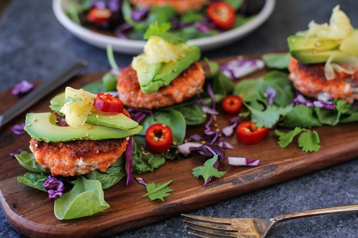 Asian Salmon Burgers with Avocado and Pickled Ginger | TheRoastedRoot.net #healthy #dinner #recipe #fish #glutenfree #copperriversalmon #wildalaskansalmon