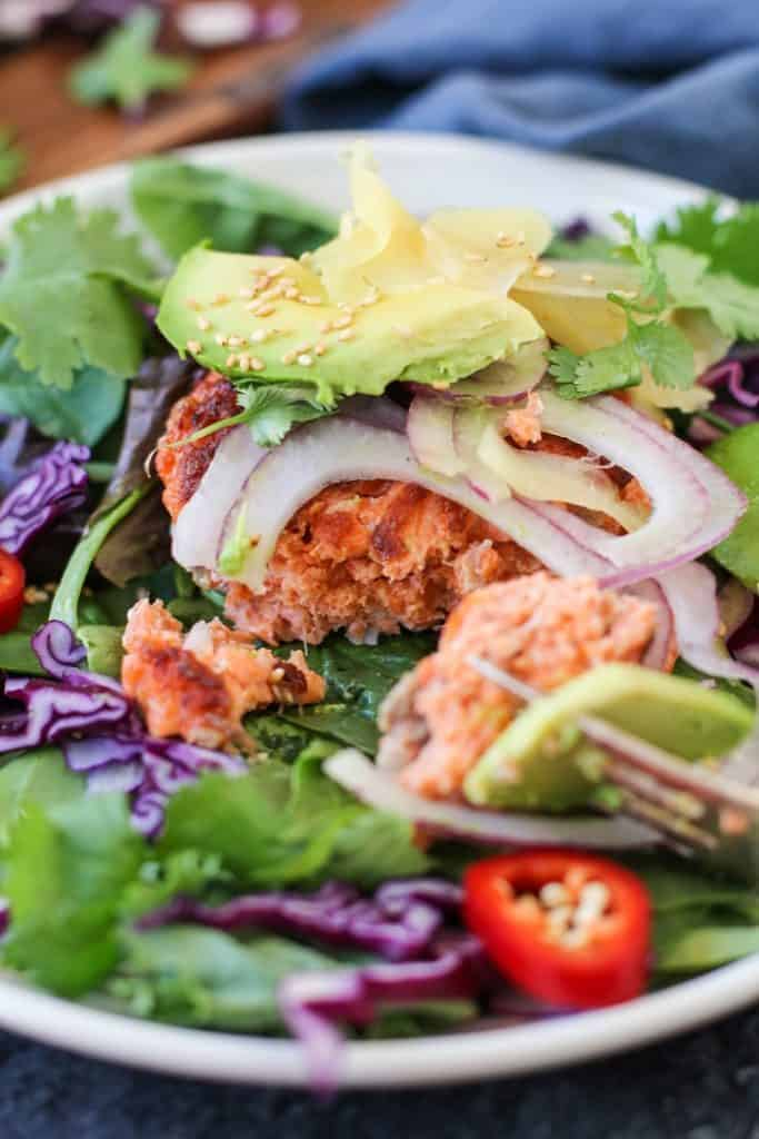 Asian Salmon Burgers with Avocado and Pickled Ginger   TheRoastedRoot.net #healthy #dinner #recipe #fish #glutenfree #copperriversalmon #wildalaskansalmon