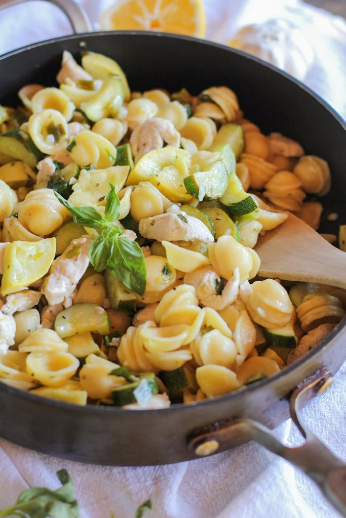 Chicken and Zucchini Orecchiette Pasta with Lemon-Butter Sauce