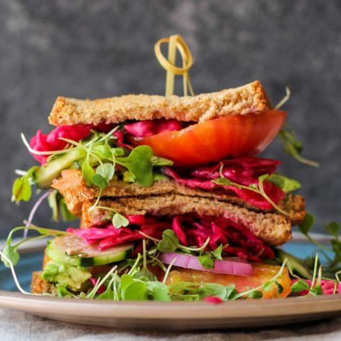 The ultimate veggie sandwich with homemade sauerkraut | TheRoastedRoot.net #healthy #vegetarian #recipe #vegan