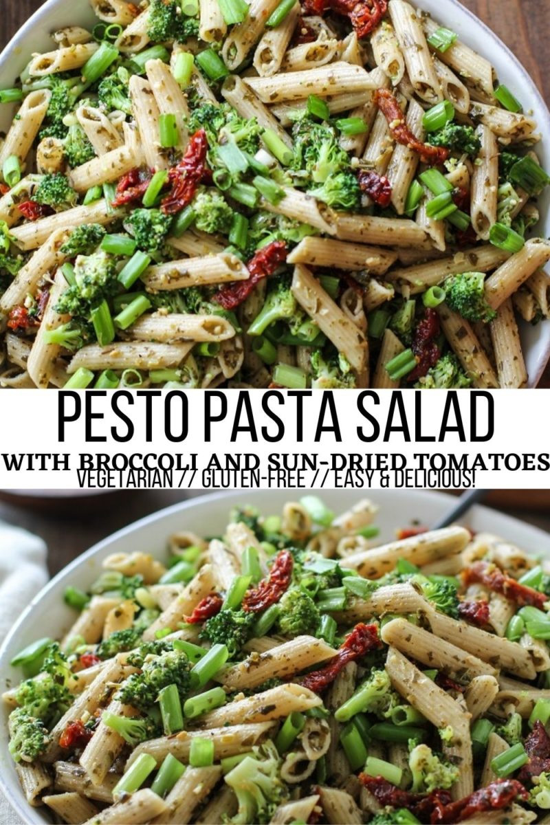 Kale Pesto Pasta Salad with Sun-Dried Tomatoes and Broccoli - an easy, delicious pasta salad recipe that is loaded with flavor and nutrients!
