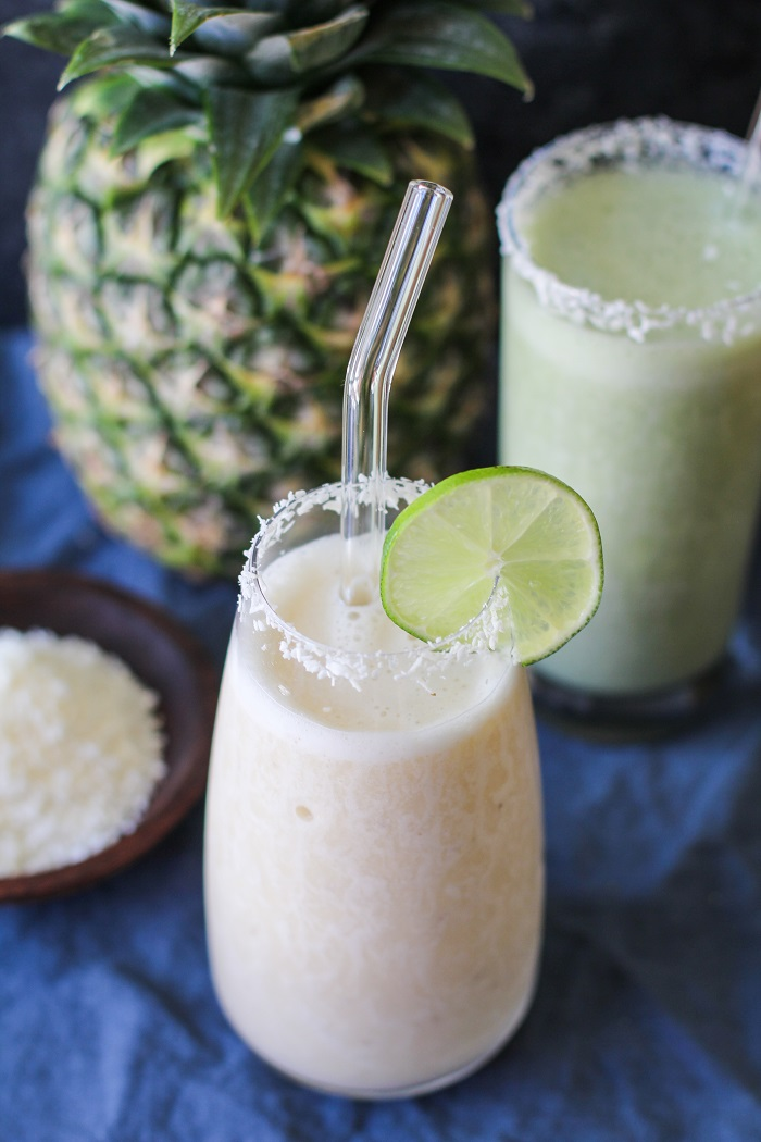 Pina Colada Smoothie (Two Ways)! | TheRoastedRoot.net #healthy #breakfast #dessert #mocktail