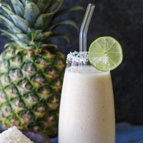 Pina Colada Smoothie (Two Ways)!   TheRoastedRoot.net #healthy #breakfast #dessert #mocktail