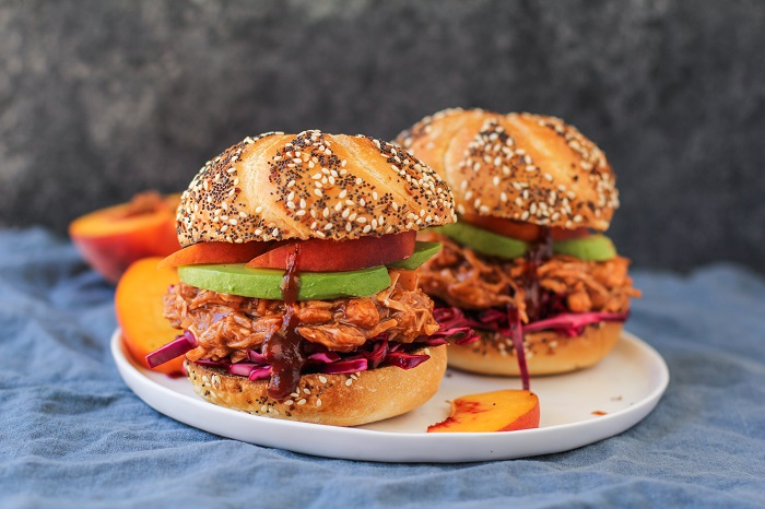 Vegan Pulled Jackfruit Sandwiches with Peach Bourbon Barbecue Sauce | TheRoastedRoot.net #healthy #vegetarian #recipe #dinner