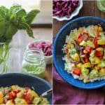 Roasted Summer Vegetable Burrito Bowls with Chickpeas and Avocado-Basil Crema | TheRoastedRoot.net #healthy #recipe #dinner #vegetarian #vegan