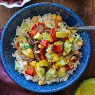 Roasted Summer Vegetable Burrito Bowls with Basil Avocado Crema