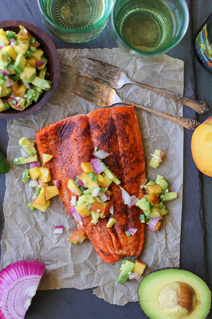 Smoky Broiled Sockeye Salmon with Peach-Avocado Salsa | TheRoastedRoot.net #healthy #dinner #recipe #paleo #whole30 #glutenfree #copperriversalmon #sustainablesalmon #wildalaskansalmon