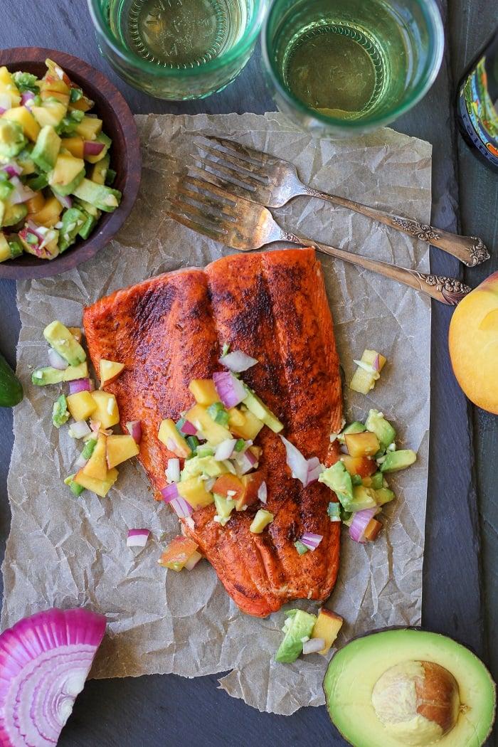 Smoky Broiled Sockeye Salmon with Peach-Avocado Salsa | TheRoastedRoot.net #healthy #dinner #recipe #paleo #whole30 #glutenfree #copperriversalmon #sustainablesalmon #wildalaskansalmon