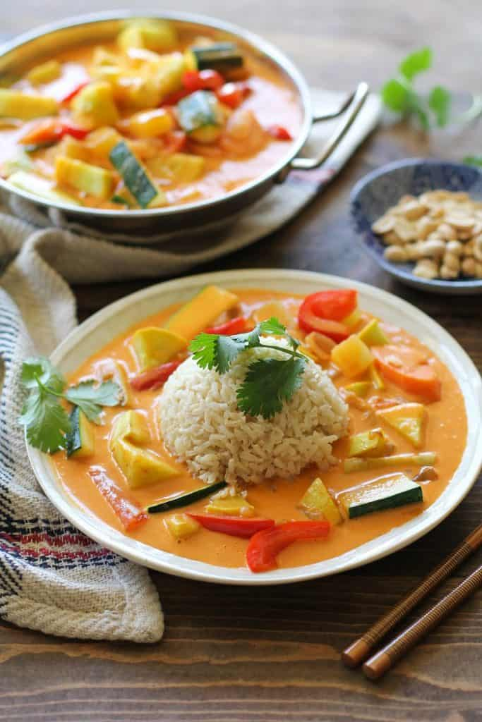 30-Minute Summer Vegetable Red Curry | TheRoastedRoot.net #vegan #vegetarian #healthy #glutenfree