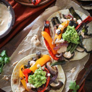 Roasted Portobello Mushroom Fajitas with Chipotle Sour Cream