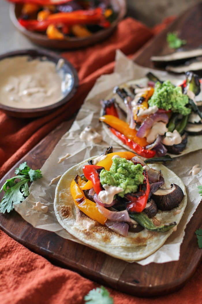 Roasted Portobello Mushroom Fajitas with Chipotle Sour Cream | Theroastedroot.net #healthy #vegetarian #meatlessmonday #glutenfree #dinner