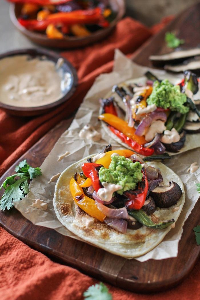 Roasted Portobello Mushroom Fajitas with Chipotle Sour Cream | Theroastedroot.net #healthy #vegetarian #meatlessmonday #glutenfree #dinner
