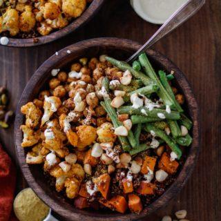 Roasted Sweet Potato, Cauliflower, Chickpea, and Green Bean Quinoa Buddha Bowls with Cashew Cream Sauce