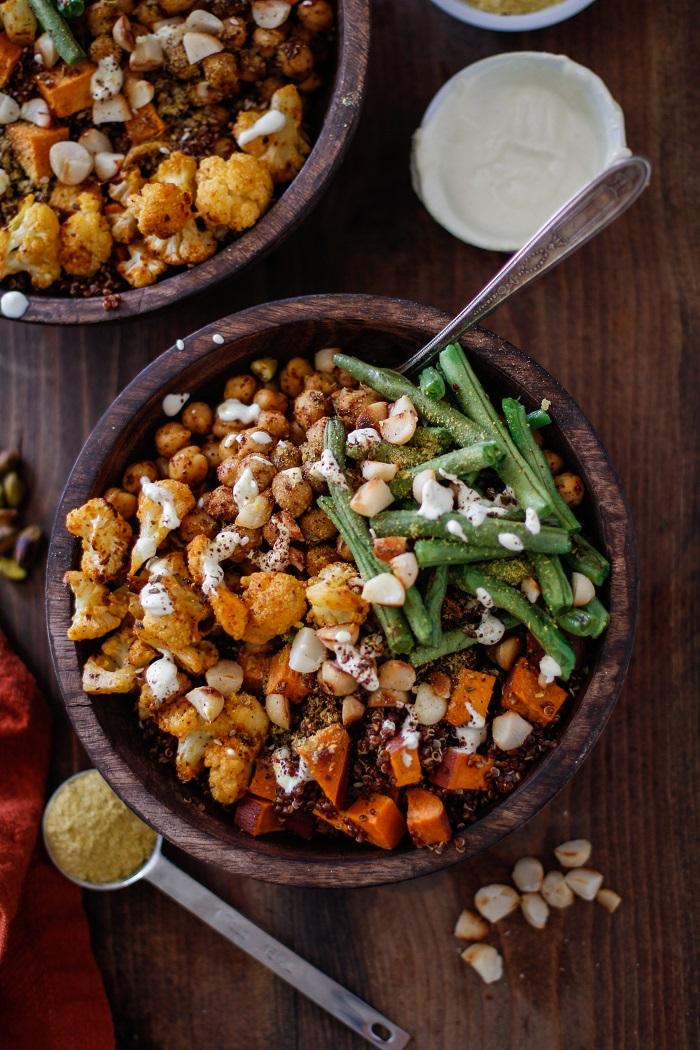 Roasted Sweet Potato, Cauliflower, Chickpea, and Green Bean Quinoa ...