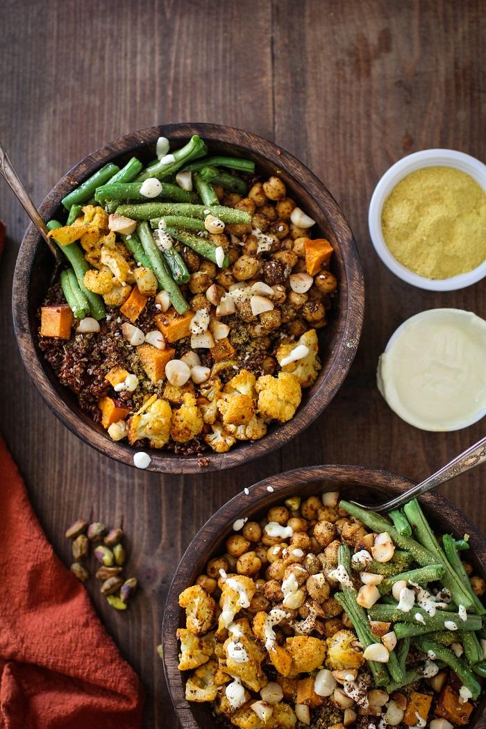 Roasted Vegetable Quinoa Bowls with Toasted Macadamia Nuts and Cashew Cream Sauce   TheRoastedRoot.net #healthy #vegetarian #vegan #glutenfree #recipe #paleo