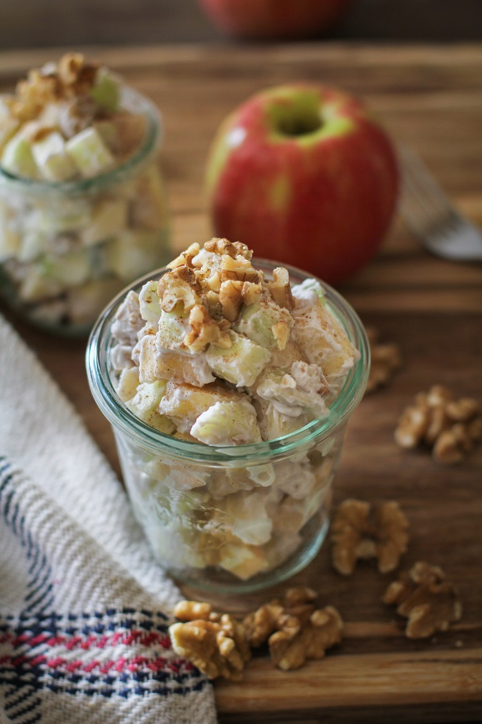 Apple Walnut Fruit Salad with Grapes and Cinnamon-Maple Coconut Whipped Cream | TheRoastedRoot.net #sidedish #salad #healthy #vegan