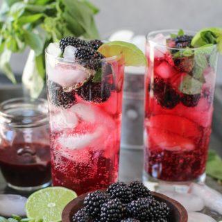 Blackberry Basil Mojitos (naturally sweetened)