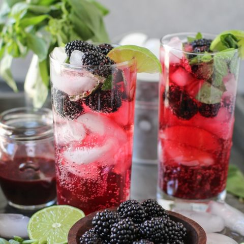 Blackberry Basil Mojitos - clean and naturally sweetened | TheRoastedRoot.net #cocktail #recipe #drink #sugarfree