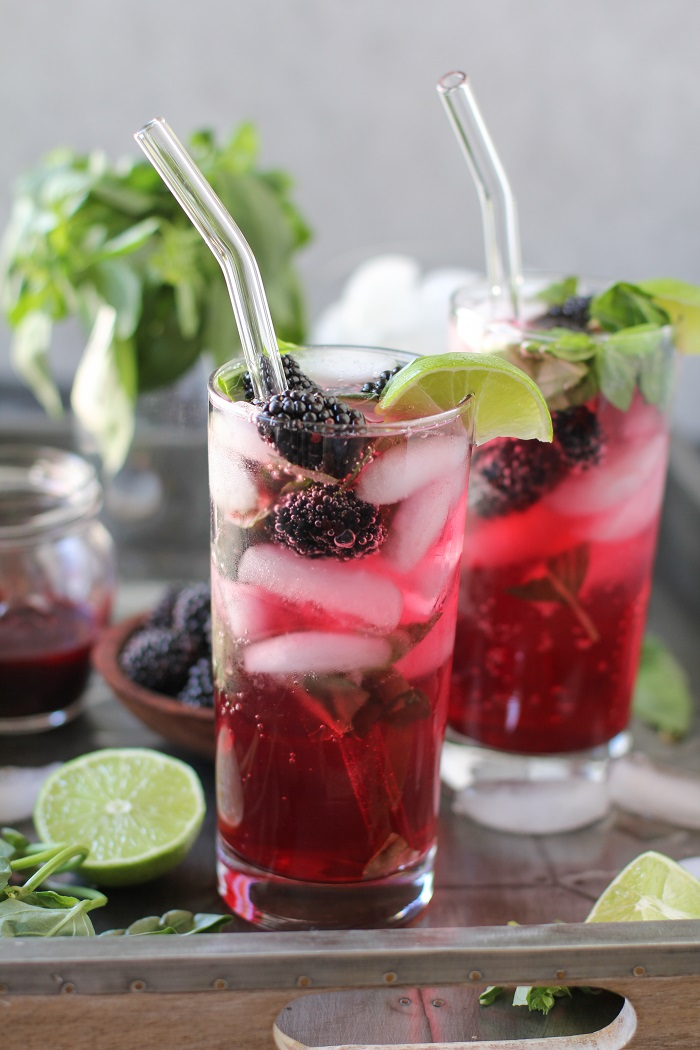 Blackberry Basil Mojitos - clean and naturally sweetened   TheRoastedRoot.net #cocktail #recipe #drink #sugarfree