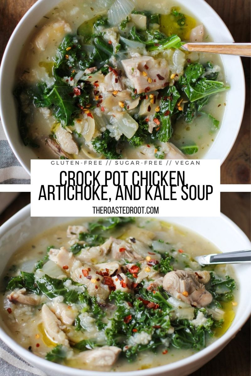 Crock Pot Chicken Artichoke and Kale Soup is an easy, healthy rustic soup recipe for a belly-pleasing meal