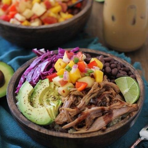 Crock Pot Hawaiian Pulled Pork Burrito Bowls