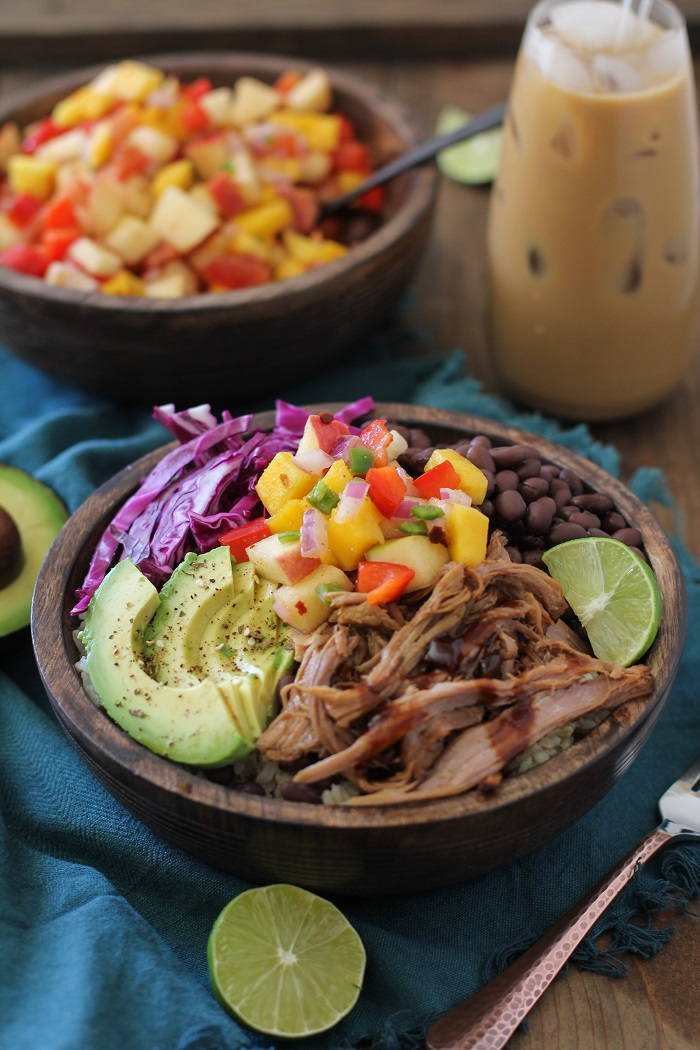 Crock Pot Hawaiian Pulled Pork Burrito Bowls | TheRoastedRoot.net #healthy #recipe #slowcooker