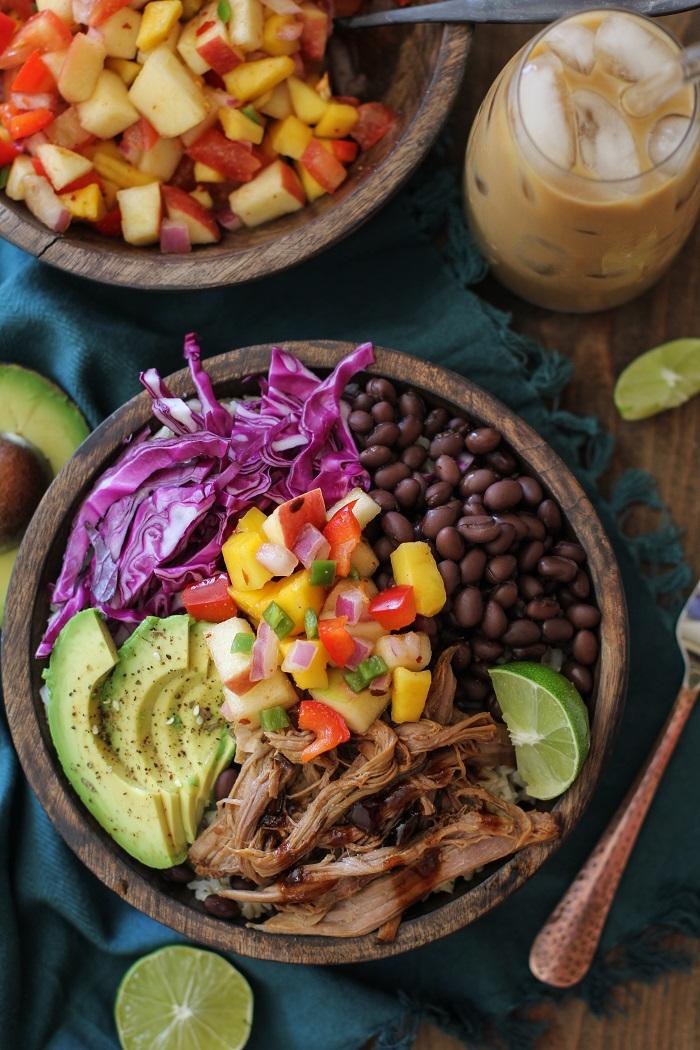 Crock Pot Hawaiian Pulled Pork Burrito Bowls | TheRoastedRoot.net #healthy #recipe #slowcooker