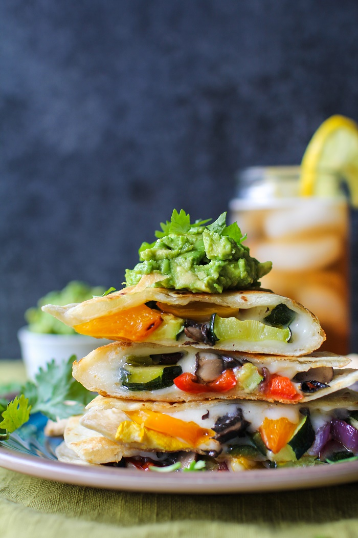 Grilled Portobello Mushrooms and Summer Squash Quesadillas