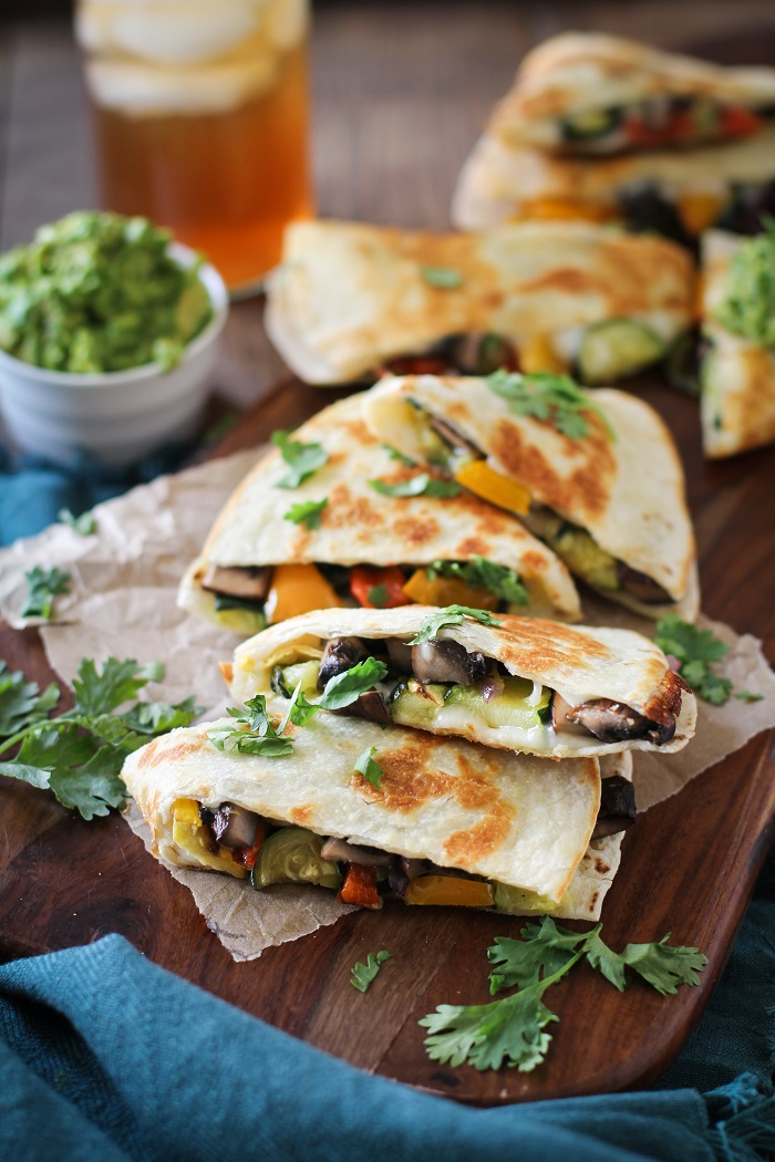 Grilled Portobello and Summer Squash Quesadillas with bell peppers and guacamole | TheRoastedRoot.net #healthy #dinner #recipe #bbq