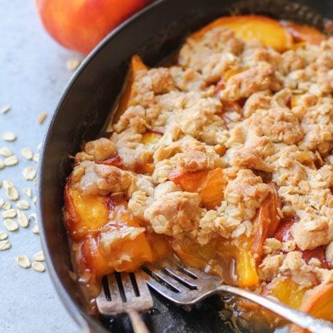 Gluten-Free Vegan Peach Crisp | TheRoastedRoot.net #healthy #dessert #recipe #breakfast #summer