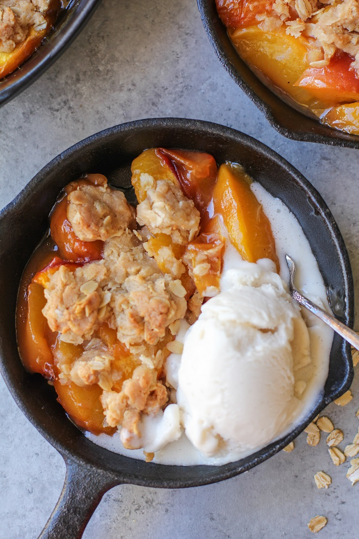 Gluten-Free Vegan Peach Crisp | TheRoastedRoot.net #healthy #dessert #recipe #breakfast #summer