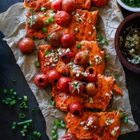 Roasted Salmon with Rosemary Lemon Garlic Butter Sauce and Blistered Tomatoes | TheRoastedRoot.net #healthy #glutenfree #dinner #recipe #copperriversalmon